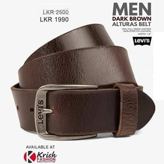 None Stretch Leather Dark Brown Men's Belt - Krish Fashion - mylife-sa.myshopify.com
