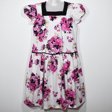 Pink Flower Printed Square Neck Kids Girls Dress - Deshanee Dress Point - mylife-sa.myshopify.com