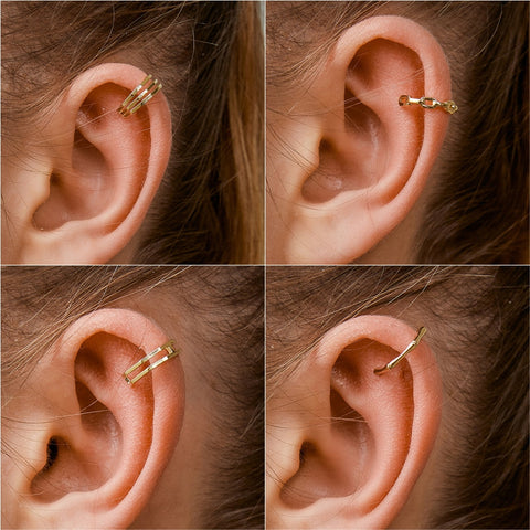 (Global Shop) Women Fashion Gold Simple Clip Earrings