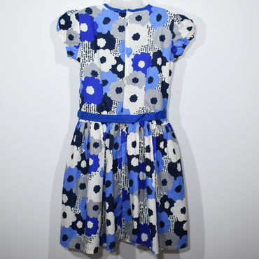 Blue Flower Printed Kids Girls Dress - Deshanee Dress Point - mylife-sa.myshopify.com