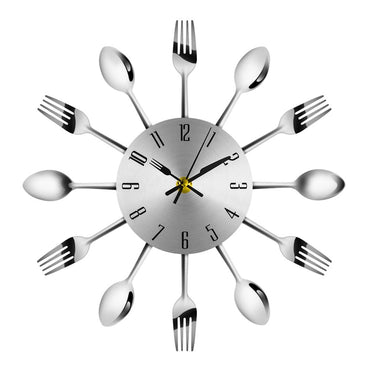 (Global Shop) Novel Stainless Steel Knife Fork Spoon Analog Wall Clock
