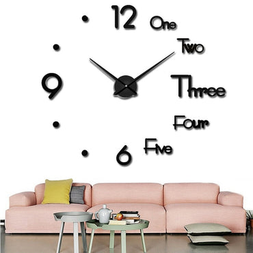 2019 large wall clock watch 3d wall clock decoration acrylic mirror stickers home decoration accessories quartz needle - My Life