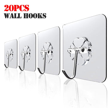 (Global Shop) 20Pcs Transparent Strong Suction Wall Hooks