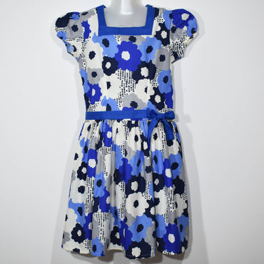 Blue Flower Printed Kids Girls Dress