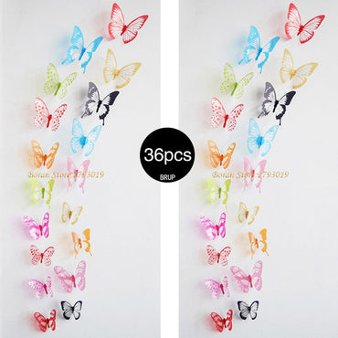 (Global Shop) 36Pcs 3D Crystal Butterfly Wall Creative Stickers
