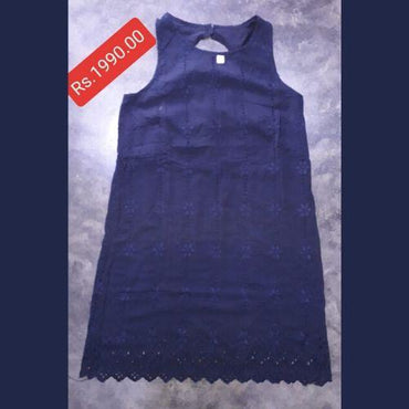 Girls Cutwork Sleeveless Dark Blue Dress by Seemly - Seemly - mylife-sa.myshopify.com