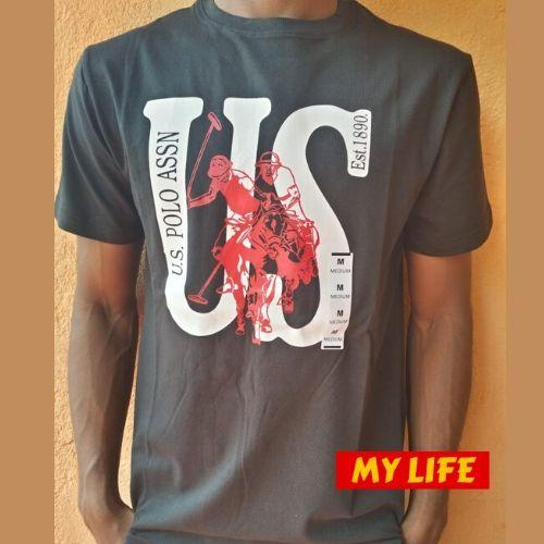 (Wholesale Only) US Print Short Sleeve Black Men T-shirt - My Life