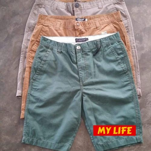 (Wholesale Only) Front Zipper Solid Color Washed Men's Short