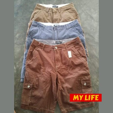 (Wholesale Only) Solid Color Washed Cargo Pockets Men's Shorts