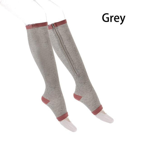 (Global Shop) 1 Pair Unisex Leg Compression Zipper Socks