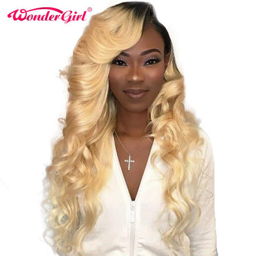 (Global Shop) Blonde Hair Remy Colored Brazilian Lace Wig