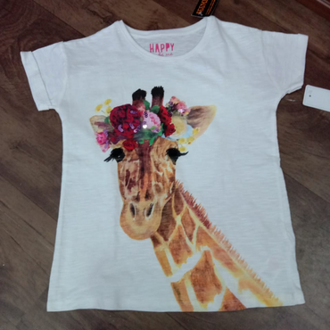 Short Sleeve O-neck Print Girls T-shirt