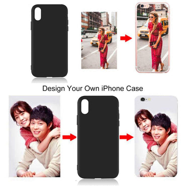 (Global Shop) Customized DIY Black Soft Phone Case For Apple iPhone
