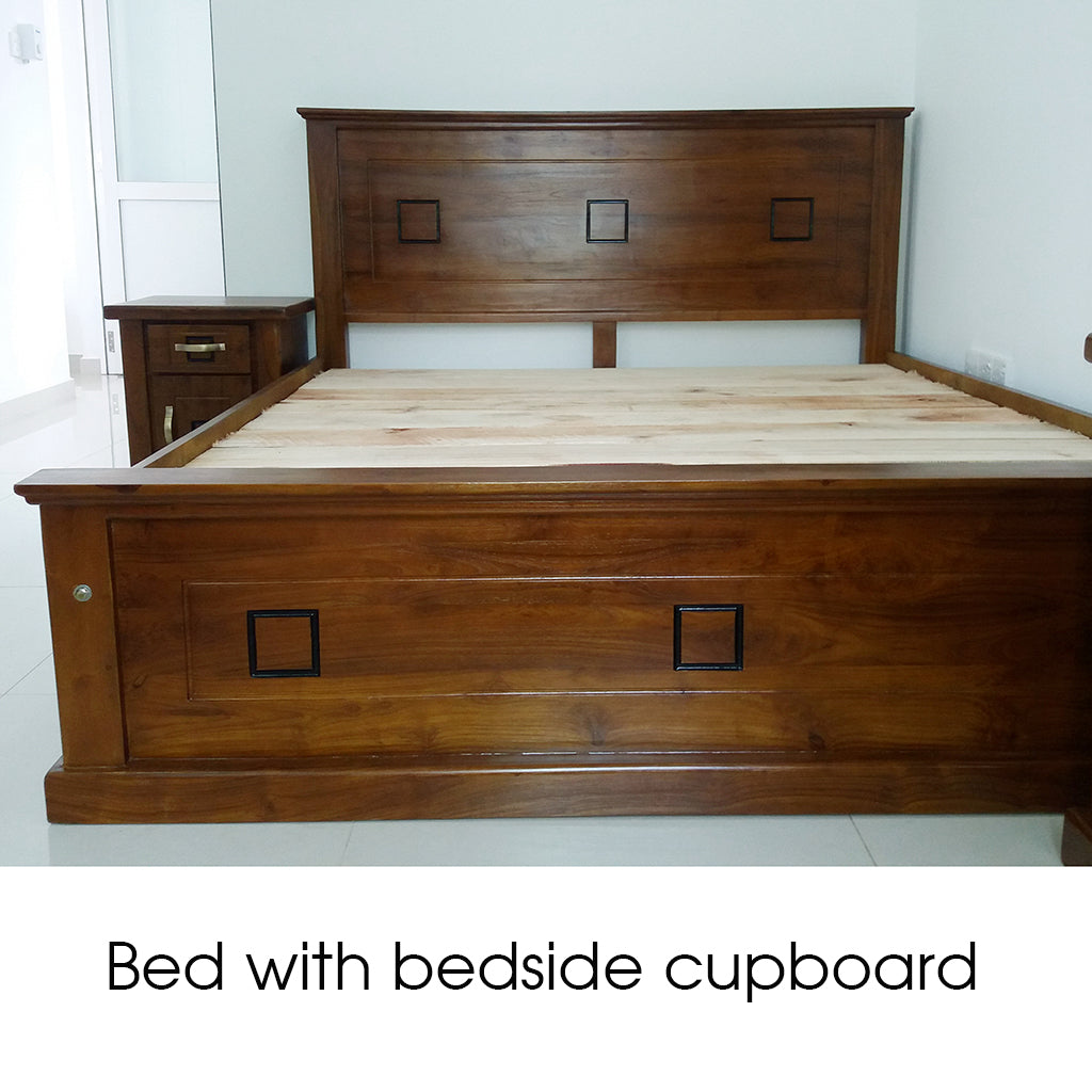 Teak Wood Bed with Bedside Cupboard - Jaydy Furniture - mylife-sa.myshopify.com
