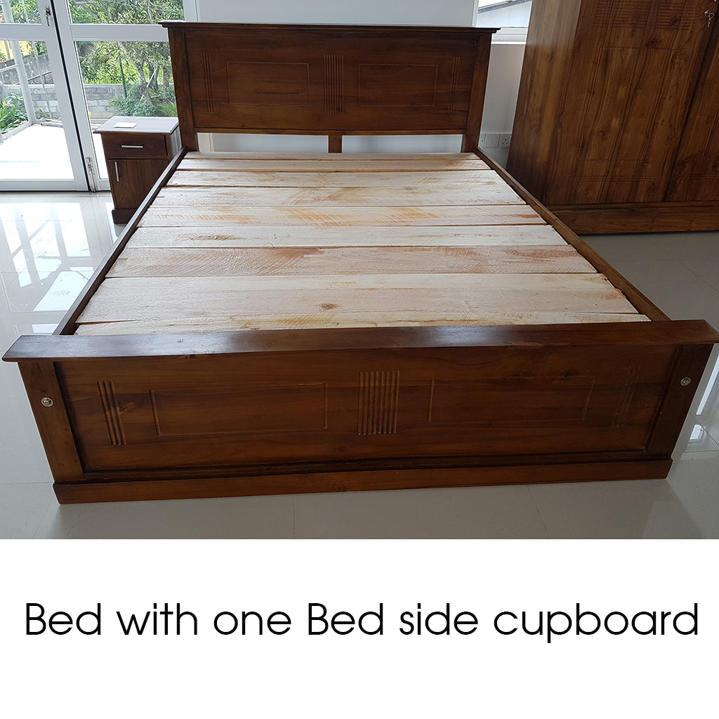 Teak Wood Bed with One Bed Side Cupboard