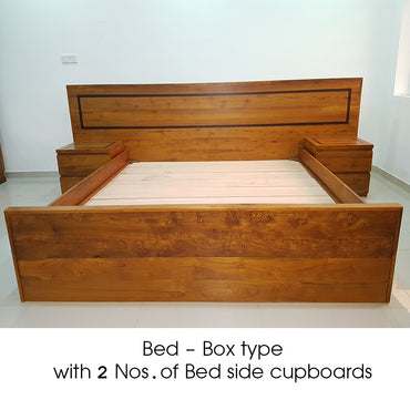 Treated Teak Wood Box Type Bed with Two Bed Side Cupboards