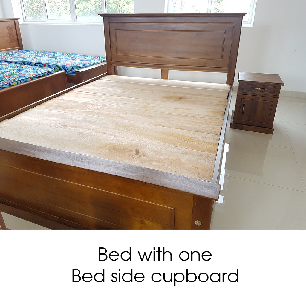 Bed with One  Bed Side Cupboard