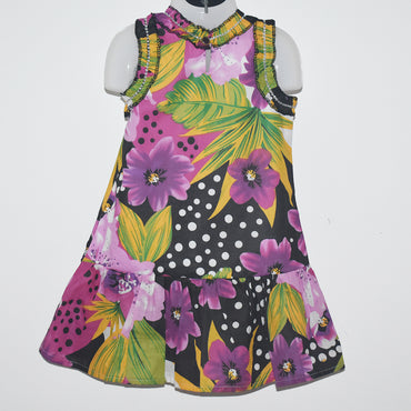 Flower Printed Sleeveless Kids Girls Dress - Deshanee Dress Point - mylife-sa.myshopify.com