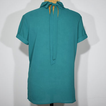 (Wholesale Only) Front Button Solid Color Womens Blouse