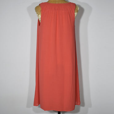 Orange Sleeveless Solid Color Women Dress