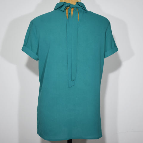 Front Button Solid Color Womens Blouse