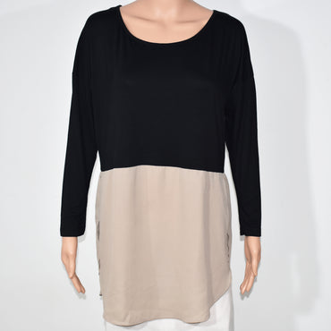 Sides Slit Long Sleeve Womens Mix O-neck Media Top - Deshanee Dress Point - mylife-sa.myshopify.com