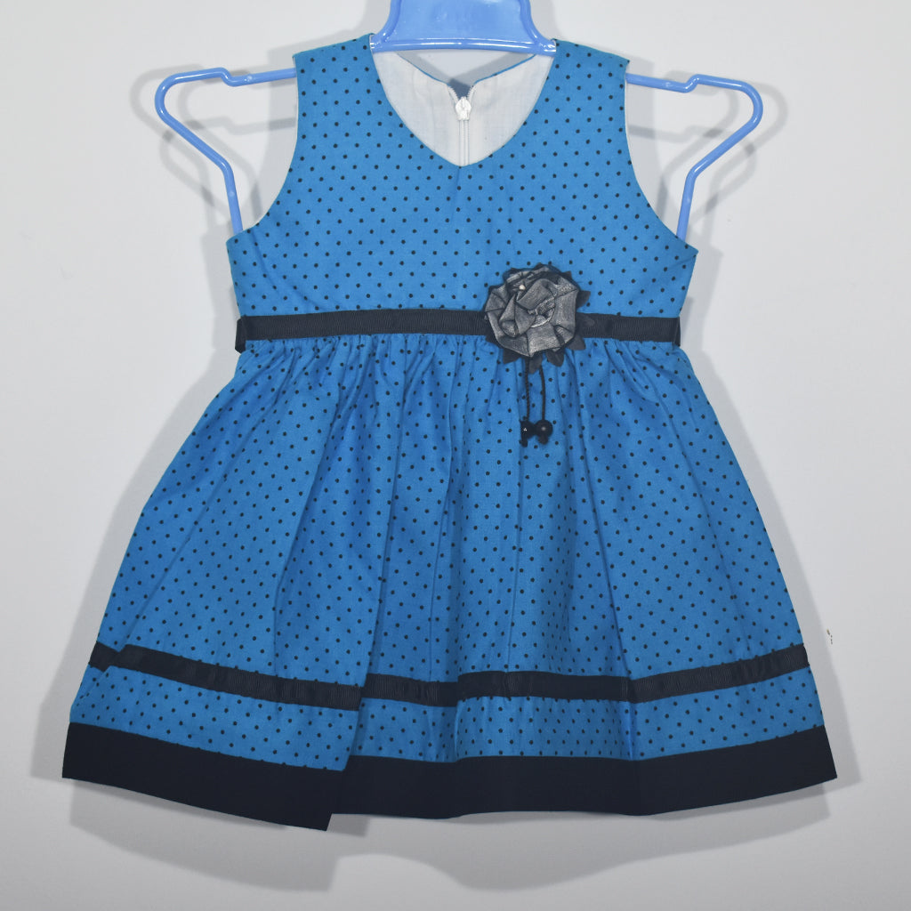 Rose Flower Attaches Dot Printed Kids Girls Dress