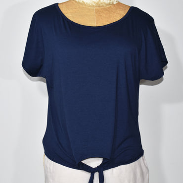 (Wholesale Only) Tie Up Crop Short Sleeves Womens T-Shirt