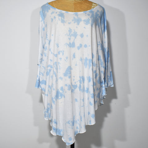Printed Boat Neck Womens Tie Dye Poncho Top