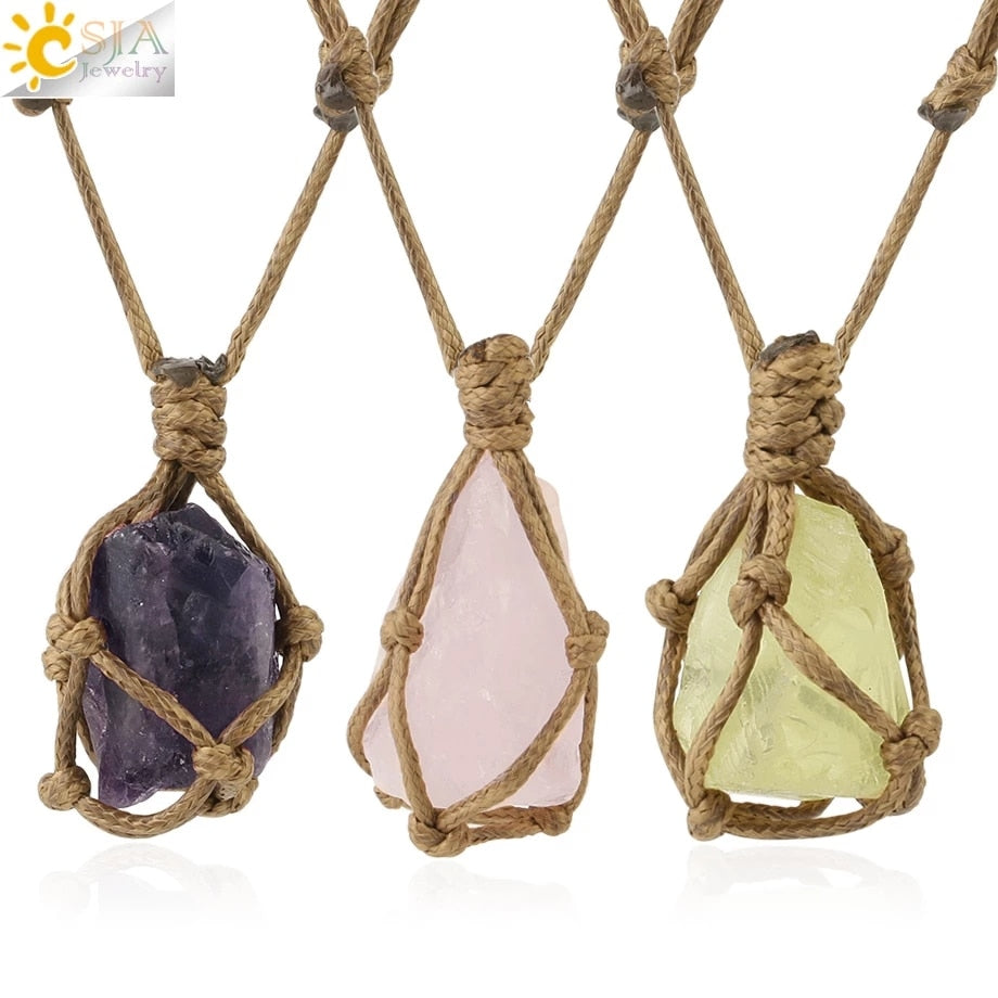 (Global Shop) Natural Stone Rope Wrap Irregular Pendant Necklaces