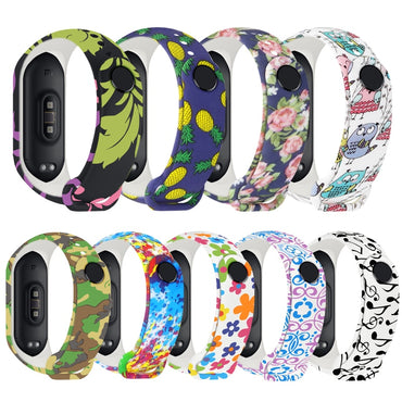 (Global Shop) Colorful Flowers Watch Strap Silicone Wristband