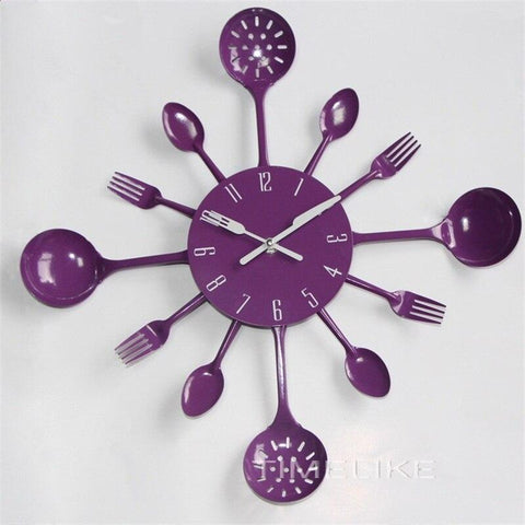 (Global Shop) Modern Design Kitchen Spoon Fork Wall Mounted Clock - Nx-Chain - mylife-sa.myshopify.com