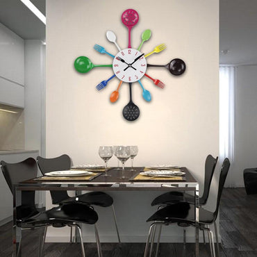 (Global Shop) Modern Design Kitchen Spoon Fork Wall Mounted Clock