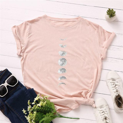 (Global Shop) New Moon Planet Print Women T Shirt - My Life