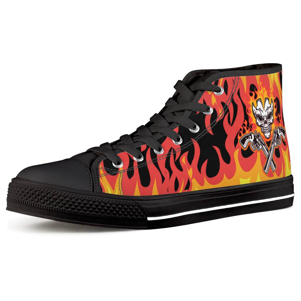 Skull and gun Black High Top Canvas Shoes