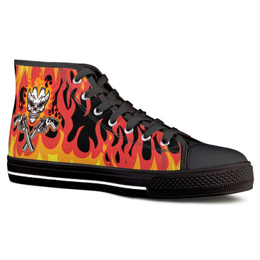 (Global Shop) Blazin' pistol - Black High Top Canvas Shoes