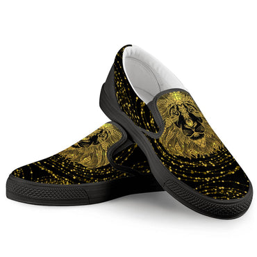 (Global Shop) Golden Lion - Black Slip On Shoes