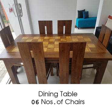 Teak Wood Brown Color Dining Table & 06 Number of Chairs - Jaydy Furniture - mylife-sa.myshopify.com