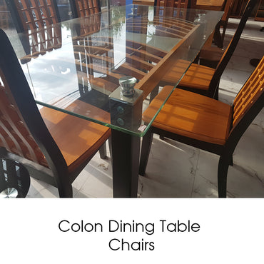 Colon Wood Tempered Glass Dining Table & Chairs