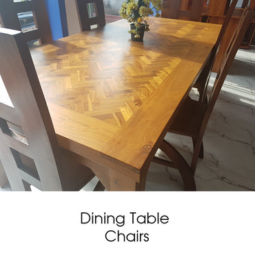 Brown Color Teak Wood Dining Table & Chairs
