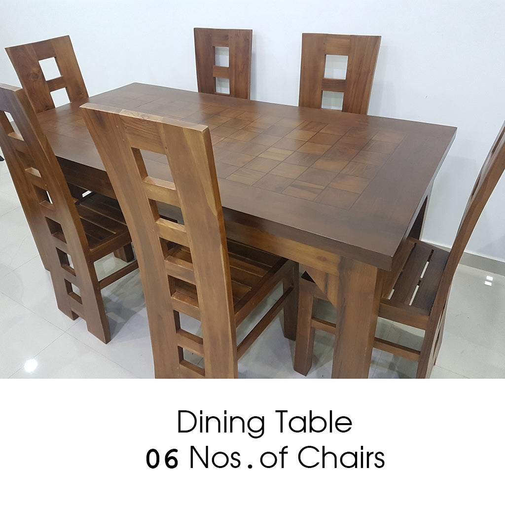 Brown Color Dining Table & 06 Number of Chairs