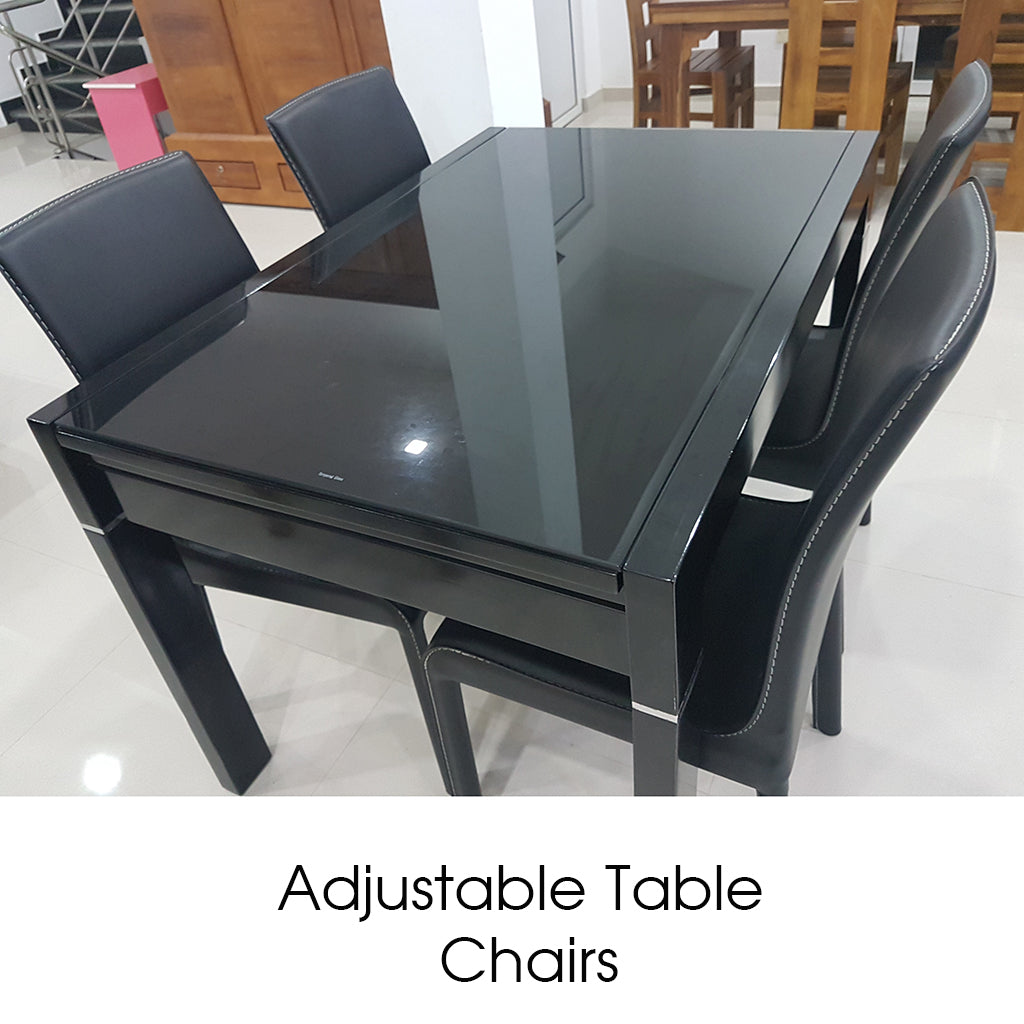 Black Color Treated Rubber Adjustable Table & Chairs