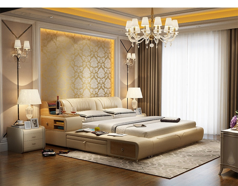 (Global Shop) Genuine Leather Bed Frame Modern Soft Beds