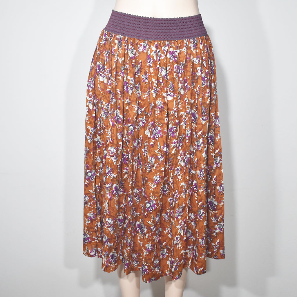 Elastic Waist Flower Printed Womens Skirt