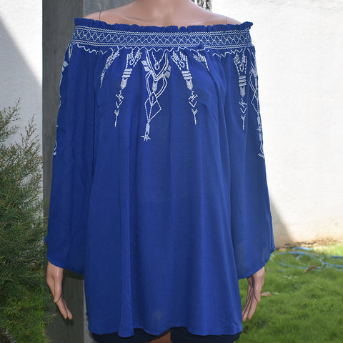 Off the Shoulder Blue Color Long Sleeve Blouse - Deshanee Dress Point - mylife-sa.myshopify.com