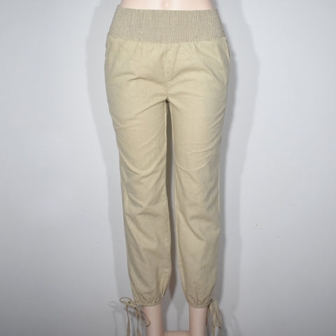 Womens Solid Color Smocked Waist Linen Pocket Pant