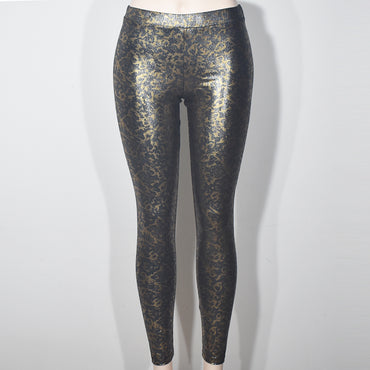 (Wholesale Only) Gold Cama Printed Shine Women Leggings