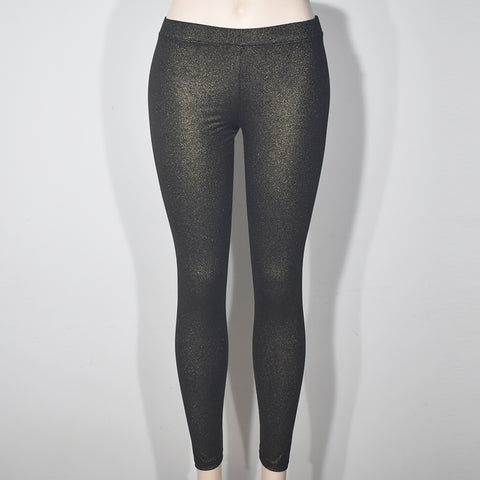Gold Shine Solid Color Women Leggings
