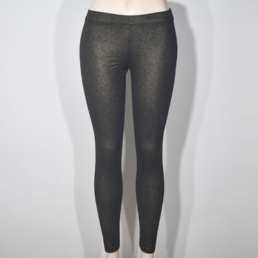 (Wholesale Only) Gold Shine Women Skinny Leggings