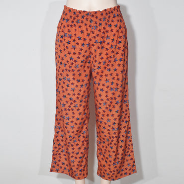 Smoked Waist Star Print Women Casual Pant